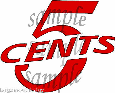 "2"" VINTAGE STYLE 5 CENT VENDING DECAL COKE RED"