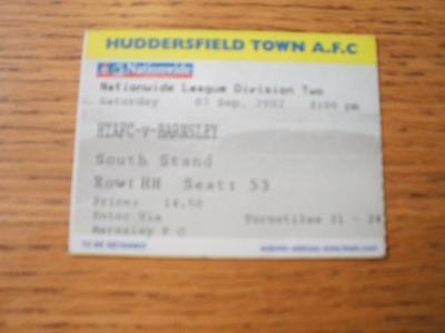 07/09/2002 Ticket: Huddersfield Town v Barnsley  . No o