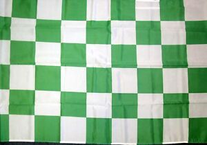 CHEQUERED GREEN AND WHITE FLAG 5FT X 3FT