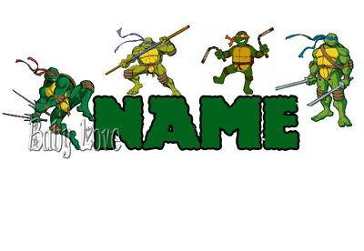 Iron On Transfer Personalised Tmnt Ninja Turtle 19x6cm Ebay