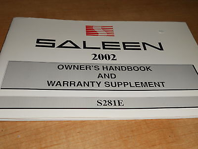 2002 Saleen S281e S281 Extreme Owners Manual Origin