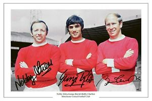GEORGE BEST BOBBY CHARLTON & NOBBY STILES MANCHESTER UNITED SIGNED PHOTO PRINT