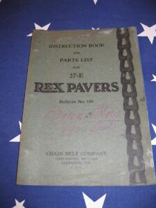 1929-Chain-Belt-Rex-Paver-Instruction-Book-Parts-List