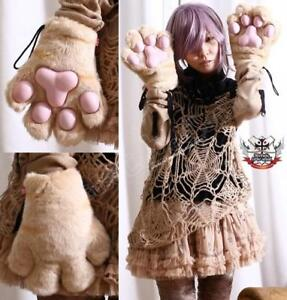 Cosplay-MONSTER-Kitty-CAT-Fur-PAW-CLAW-Caramel-GLOVE-X1