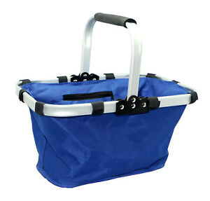 Collapsible-Fold-Folding-Picnic-Shopping-Basket-Blue
