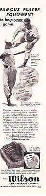 1950 Bob Feller Ted Williams photo Wilson gloves ad