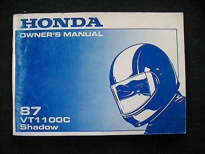 Honda 1987 Vt1100 Vt 1100 Shadow Original Owners Manual H0293