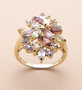 Gorgeous GENUINE MULTI GEM-STONE & DIAMOND RING #7 NEW