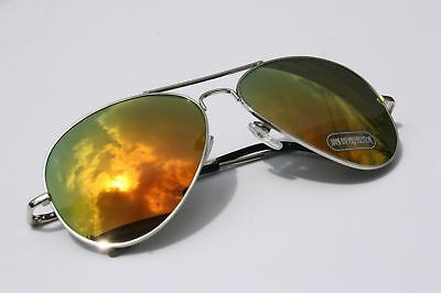 Men 400uv Aviator Mirror Fire Sunglasses Shades Silver