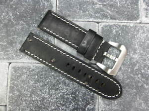 24mm-NEW-MOON-COW-LEATHER-STRAP-Band-Fit-PANERAI-Black