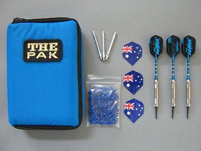 Dart-Tasche mit 3 Chrom-Dartpfeilen und Zubehör (34