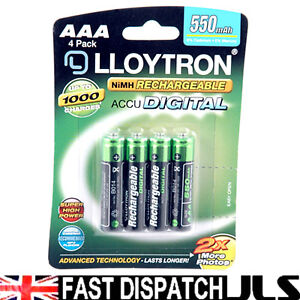 4 x lloytron aaa rechargeable piles 550 mah t l phone. Black Bedroom Furniture Sets. Home Design Ideas