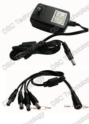 12v Ac/dc 2a Cctv Power Adapter & Dc Splitter 4 Cameras