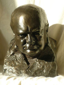 Signed Classic Winston Churchill Bust by Oscar Nemon
