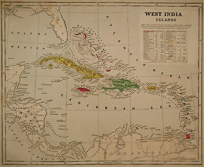 1856 Genuine Antique map West India Islands. C. Morse
