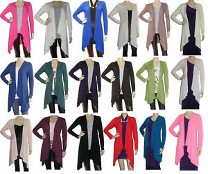 Womens-Waterfall-Cardigan-Long-Sleeved-UK-Size-8-22-Full-Color