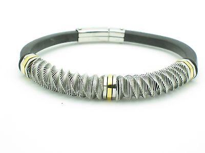 Platinum 18kt Gold Steel Black Rubber Unique Bracelet