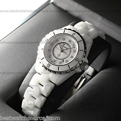 Chanel J12 Quartz 33mm H1628 White Ceramic Diamond Dial Brand NEW Ret: $6,100
