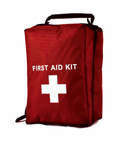 EMPTY FIRST AID KIT BAG WITH COMPARTMENTS - LARGE - RED