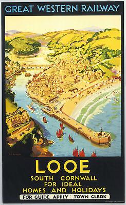 Looe, Cornwall (old GWR ad.) fridge magnet    (se)