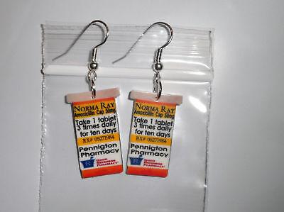 Prescription Bottle Earrings Pharmacist Medicine Pills Charms