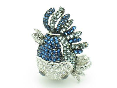 Platinum Silver Diamond Set Unique Fish Design Ring