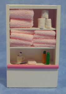 Dolls House Bathroom Shelving Unit + Towels/Accessories   in 12th scale
