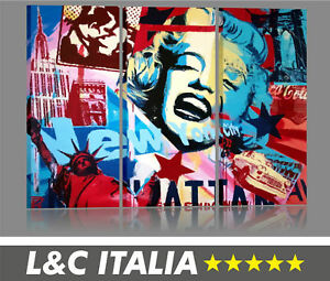 Marilyn-4-QUADRI-MODERNI-POP-ART-VINTAGE-ARREDAMENTO-CASA-QUADRO-MODERNO-BILDER