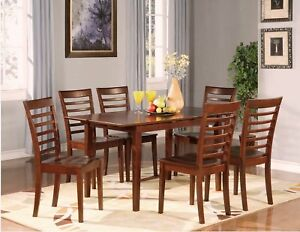7PC-DINING-ROOM-DINETTE-SET-TABLE-AND-6-CHAIRS-MAHOGANY