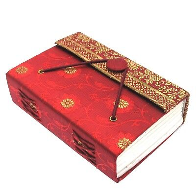 Fair Trade Handmade Red Medium Sari Journal Notebook