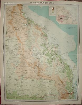 1920 LARGE MAP ~ EASTERN QUEENSLAND ~ 23 INCHES x 18