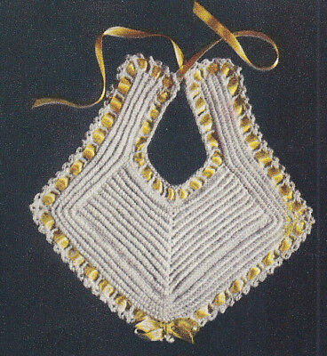 Vintage Crochet Pattern Baby Bib Fancy Christening Doll