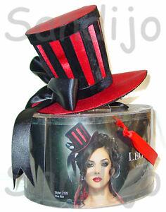 New-Adult-Womens-Velvet-Striped-Red-Satin-Mini-Top-Hat
