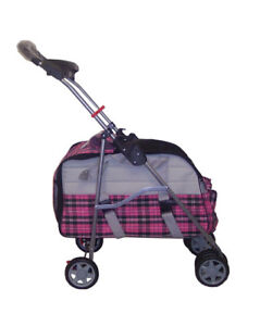 Pink Plaid 3 In 1 Pet Dog Cat Stroller/Carrier/Car Seat