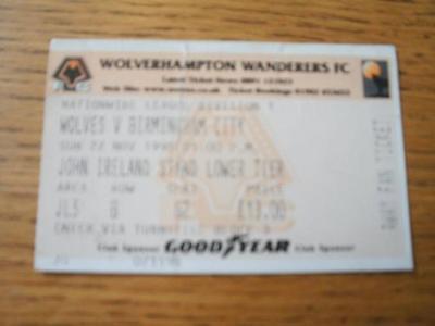 22/11/1998 Ticket: Wolverhampton Wanderers v Birmingham