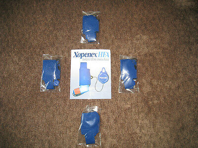 (4) XOPENEX ASTHMA INHALER HOLDERS / CASE / POUCH + STRETCH REEL (DRUG REP ITEM)