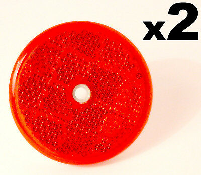 2 E-Approved Round Circular Reflectors Red 50mm for Trailer Caravan Gatepost