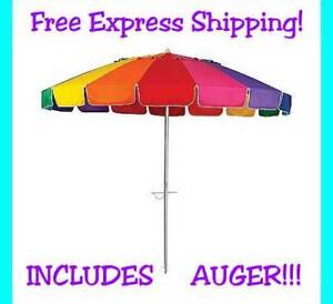 New-8-Foot-Beach-Umbrella-Rainbow-Adjustable-Tilt-Carry-Bag-50-UV-Protection