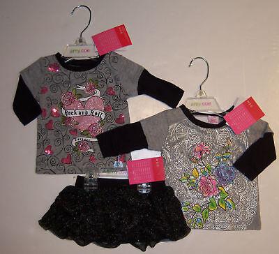Amy Coe 0-3 Months Gray Rock & Roll Tee Glitter Rose Top Black Ruffle Skirt