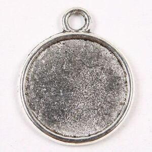 30P-Tibetan-Silver-Mini-Coin-Photo-Frame-Pendant-Charms
