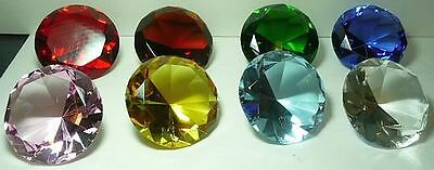 100 Mm Cut Glass Diamond Paperweight Choice 8 Colors