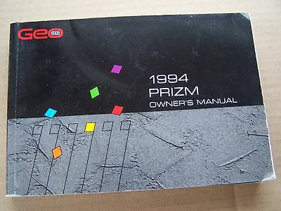 1994 Geo Prizm Owners Manual Original Parts Service