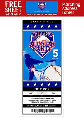 6 Baseball Ticket Birthday Party Favors Invitations