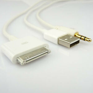 iphone 4s usb 3 5mm klinke aux auto kfz audio kabel cinch adapter. Black Bedroom Furniture Sets. Home Design Ideas