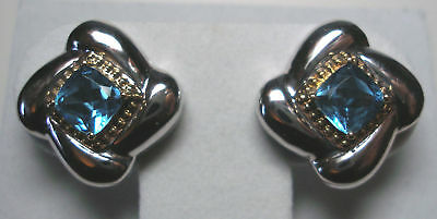 Sterling Silver & 14kt Gold Genuine Blue Topaz Earrings