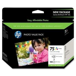 New Genuine HP #75 Photo Value Pack - CG501AN - Ink Cartridge + 100 Photo Paper