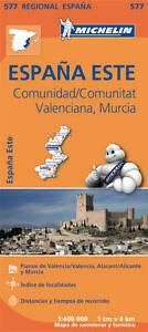 COMUNIDAD VALENCIANA , MURCIA MAP - NEW - MICHELIN 577 SPAIN REGIONAL MAPPING