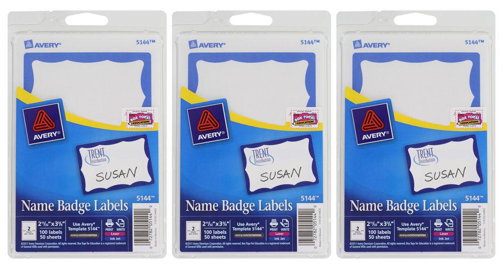 Avery Dennison Ave 5144 Self Adhesive Name Badge Label 234 Ebay
