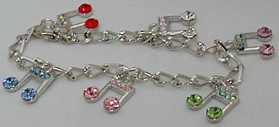Handmade Alloy Music Note Bracelet With Crystal Of 6 Assorted Colors(mn)