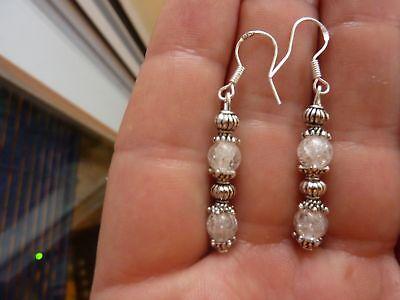Boucles D'oreilles Quartz Cristal De Roche 6mm Arg925